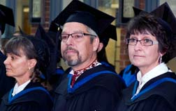 Elisabeth Denise MacDonald, left, Alger Jay Corbett Libby and Chris Lynn Kuly all graduated with their master of religious education degree