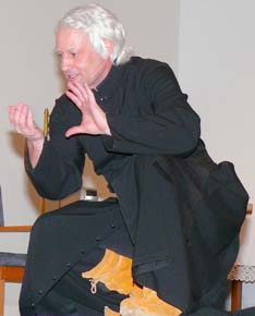 Actor Paul Punyi portrays Fr. Albert Lacombe at the launch of St. Albert Parish's 150th jubilee