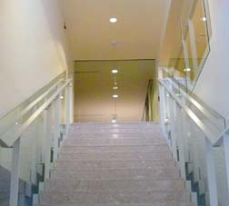 The stairway to the second floor of Newman Theological College symbolizes the assent of the college and St. Joseph Seminary to a new and better home.