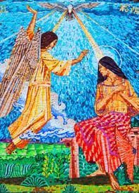 A mosaic in the Basilica of the Annunciation in Nazareth depicts Gabriel appearing to Mary.
