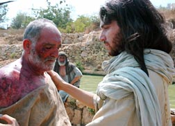Jesus is seen ministering at the healing pool in the TV show Living in the Time of Jesus.