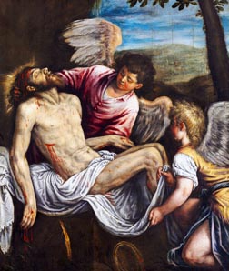 This painting by artist Leandro Bassano titled the Dead Christ with Angels is part of a display at New York's Museum of Biblical Art depicting the Man of Sorrows through eight centuries.
