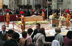 About 250,000 pilgrims venerated the casket of Blessed Pope John Paul II in front of the main altar in St. Peter's Basilica at the Vatican May 2.