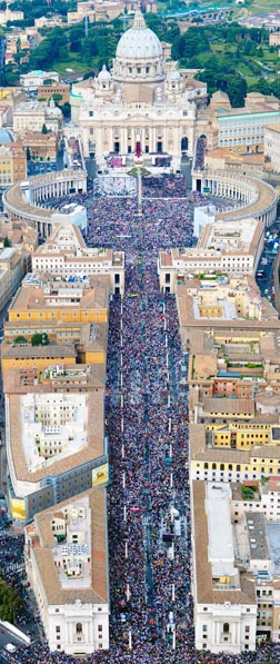 People Pack St. Peter's Square and the Via della Conciliazione leading up to the square during the beatification of Pope John Paul II May 1 at the Vatican.