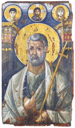 This icon of St. Peter from about the sixth century comes from the Greek Orthodox Monastery of St. Catherine in Sinai Egypt.