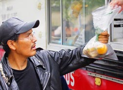Homeless people must too often depend on handouts, charity for their food.