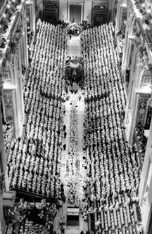 Bishops of the world line the main aisle of St. Peter's Basilica during the opening session of the Second Vatican Council in 1962.