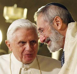 Pope Benedict talks with Rabbi Riccardo Di Segni, the chief rabbi of Rome, during his visit to Rome's main synagogue last year.