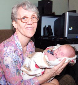 Linda Gibbons is seen here with her grandson Marshall.