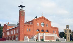 St. Albert Church stands proudly on the spot where Fr. Albert Lacombe and Bishop Alexandre Taché decided to launch a new settlement 150 years ago.