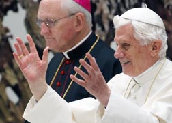 Pope Benedict greets the crowd during an event Oct. 15 at which he announced the Year of Faith for 2012-13