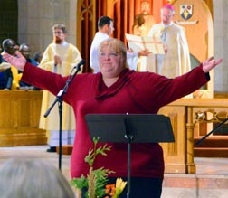 Karen Koester leads the congregation in their response to a Psalm during Vespers at Nothing More Beautiful Oct. 27.