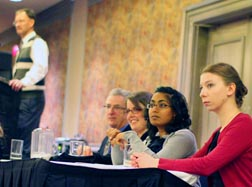 John Hof, seated left, Leah Hallman, Ruth Shaw, Rebecca Richmond took part in the recent Life Canada conference.