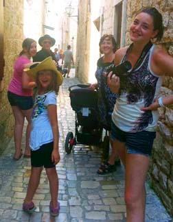 The Poiriers meander down the old streets of the medieval town of Trojir, Croatia.