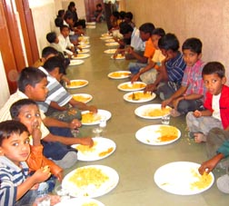 Indian children are fed at the Jeevan-Dan Care Centre in the Diocese of Pune India, which will benefit from funds raised at St. Matthew's Parish in Rocky Mountain House.