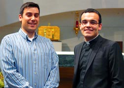 Carlos Nunez and Deacon Miguel Irizar compare notes on the old and new St. Joseph Seminaries.