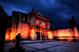 Lights illuminate the Cathedral of Santa Maria la Menor in Santo Domingo, Dominican Republic. The cathedral is the oldest in the Americas.