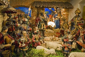 This baroque Bethlehem scene, crafted in the 17th century by the monk Kaspar, includes 48 figures made from straw, paper, gypsum.