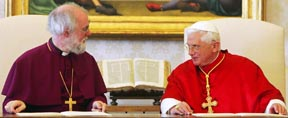 Archbishop Rowan Williams of Canterbury, leader of the Anglican Communion, and Pope Benedict talk after signing a joint declaration in 2006 to mark the four decades of dialogue between the Catholic Church and the Anglican Communion.