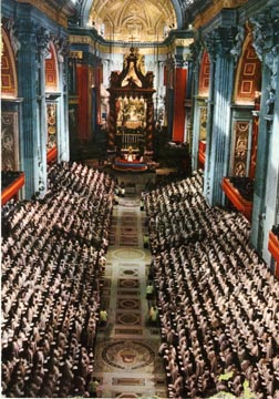 The world`s bishops line the nave of St. Peter`s Basilica during the opening session of the Second Vatican Council Oct.11, 1962. This year marks the 50th anniversary of the start of the council.