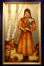 A painting of Blessed Kateri Tekakwitha by Meltem Aktas hangs in the chapel at Loyola Academy in Wilmette, Ill.