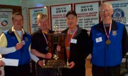 Frs. Paul Moret, Patrick Baska, Jim Corrigan and Martin Carroll won the Canada-wide clergy bonspiel, the Friar's Briar, in Saskatoon March 9.