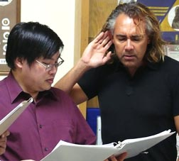 Michael Ho and Kevin Napora discuss aspects of a Gregorian vocal.