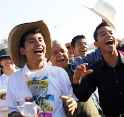 Young Men wait for Pope Benedict to arrive to celebrate mass in Silao, Mexico, March 25.