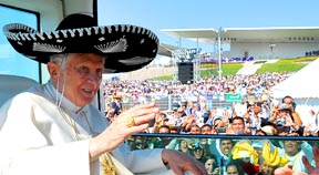 Pope Benedict, wearing a sombrero, arrives to celebrate Mass at Bicentennial Park in Silao, Mexico, March 25.