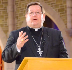Archbishop Gerald Lacroix spoke at the April 19 session of Nothing More Beautiful
