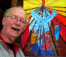 Artist Hank Zyp, shown in a 2007 photo, used his talents to portray the spirituality of the poor and those who work for social justice.