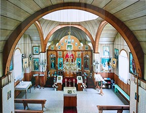 This photo captures the interior of the Nativity of the Holy Virgin Church at Kysylew.
