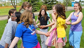 The Catholic Girls League group from St. Thomas More Parish enjoys games and companionship.
