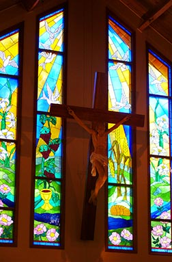 Colourful stained glass windows were installed in St. Mary's in 2005.