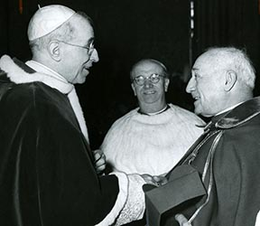 Cardinal Alfredo Ottaviani (centre), who later gained renown as a conservative leader at Vatican II, is shown in a 1958 photo with Pope Pius XII and Cardinal Benedetto Aloisi Massella.