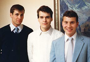 Young Greg, right, is the eldest of his brothers David (left) and Chris