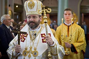 Archbishop Sviatoslav Shevchuk, major archbishop of the Ukrainian Catholic Church, processes in to celebrate the Divine Liturgy at Sts. Volodymyr and Otha Cathedral Sept. 9 in Winnipeg.