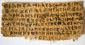 A scrap of papyrus written in ancient Coptic is pictured in this photo. The text provides the first known evidence that some early followers of Jesus proposed that he was married.