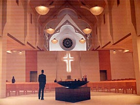 The rendering of the proposed Corpus Christi Church includes a double sided tabernacle, allowing it to be at the heart of the church.