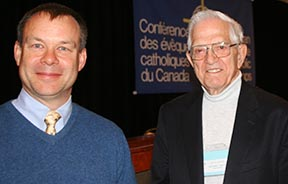 Economist Pierre Piché, left, and Jesuit Fr. Bill Ryan offered their views to the Canadian Conference of Catholic Bishops.