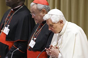 Pope Benedict prays as he leads a meeting of the Synod of Bishops on the new evangelization at the Vatican Oct. 9.