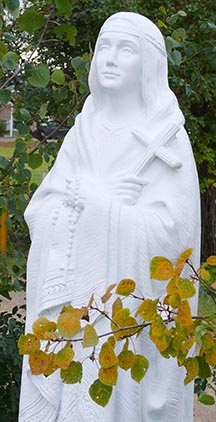 A new statue of Kateri Tekakwitha stands on the grounds of St. Joseph Seminary.