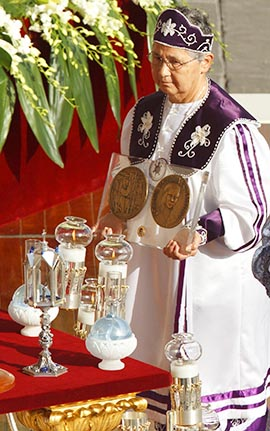 Sr. Kateri Mitchell, a member of the Mohawk nation, presents a relic of St. Kateri Tekakwitha during her canonization by Pope Benedict in St. Peter`s Square at the Vatican Oct. 21.