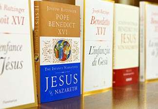 The English version of Pope Benedict's new book, The Infancy of Jesus, is seen among copies in other languages at a press conference for the release of the book at the Vatican Nov. 20.