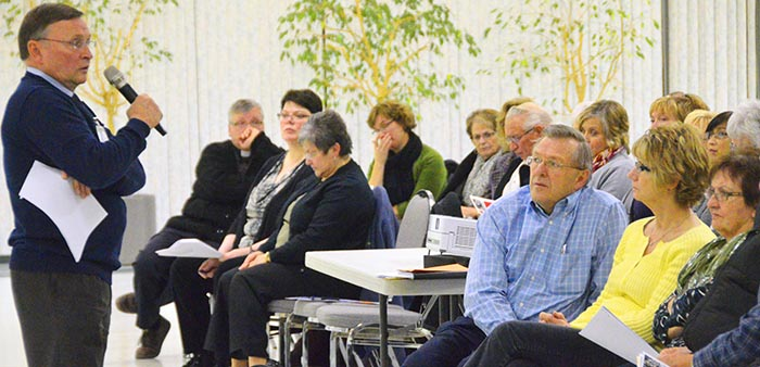 John Bergin (left), archdiocesan human resources director, leads a session of Called to Protect, Nov. 19 at St. Thomas More Church in Edmonton.