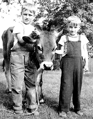 Young Paul Terrio (left) takes control of one of the family calves along with his brother Peter.