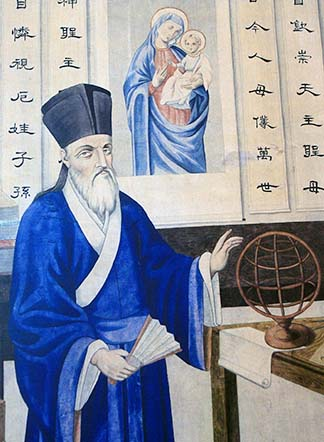 An illustration depicting Fr. Matteo Ricci the 17th century Jesuit missionary, dressed in a traditional Chinese robe, hangs in the Beijing Centre for Chinese Studies in Beijing, China.