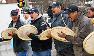 Native drummers take part in an Idle No More demonstration in Ottawa Jan. 11.