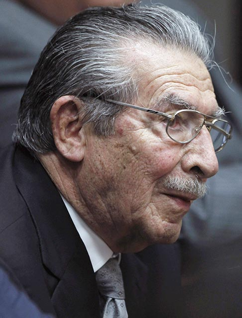 Former Guatemalan dictator Efrain Rios Montt attends a hearing in the Supreme Court of Justice in Guatemala City Jan. 28. A judge ruled that the former dictator, who presided over one of the bloodiest periods of Guatemala's civil war, will stand trial on charges he ordered the murder, torture and displacement of thousands of Mayan Indians.