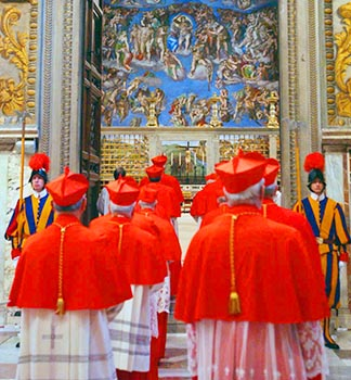 Cardinals, seen here when they were electing a successor to Pope John Paul II, will go through the same process when they begin the conclave to elect a successor to Pope Benedict.